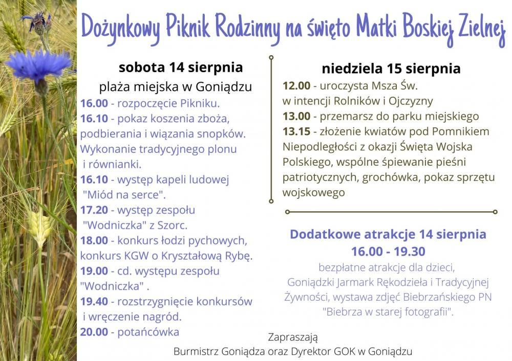 Plakat dotyczy imprezy plenerowej pod nazwą Dożynkowy Piknik Rodzinny na święto Matki Boskiej Zielnej
