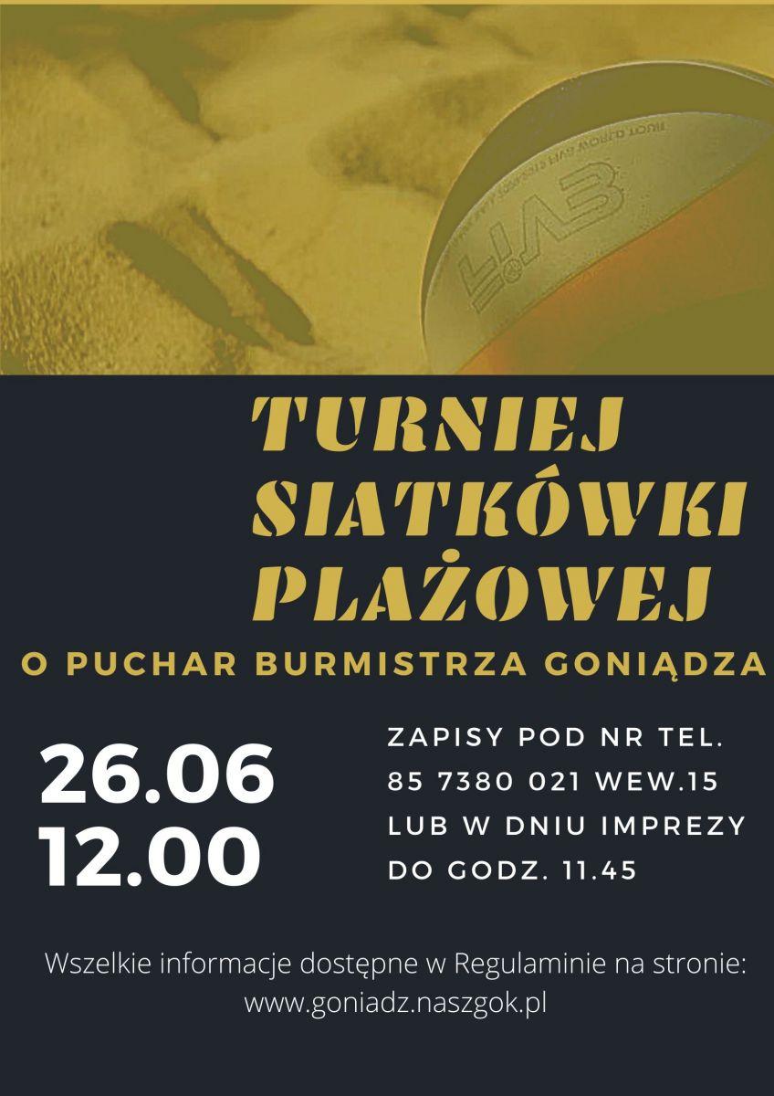 Plakat dotyczący Turnieju Siatkówki Plażowej.